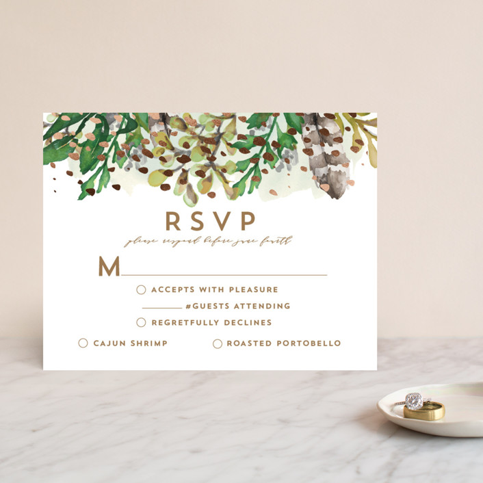 """""""Bohemian Beauty"""" - Foil-pressed Rsvp Cards in Garden by AK Graphics."""