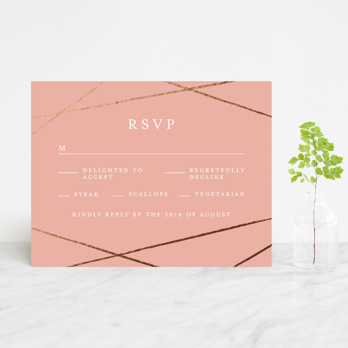 """Abstract Elegant"" - Foil-pressed Rsvp Cards in Rose by Belia Simm."