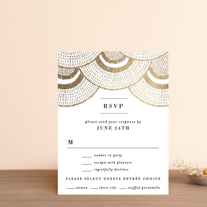 """Deco Fringe"" - Foil-pressed Rsvp Cards in Gold by Alethea and Ruth."