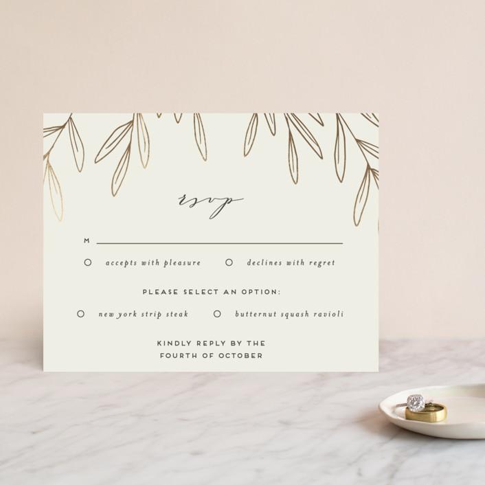 """""""Olive Frame"""" - Foil-pressed Rsvp Cards in Pale Olive by Everett Paper Goods."""