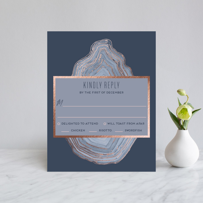 """Modern Agate"" - Foil-pressed Rsvp Cards in Navy by Kaydi Bishop."