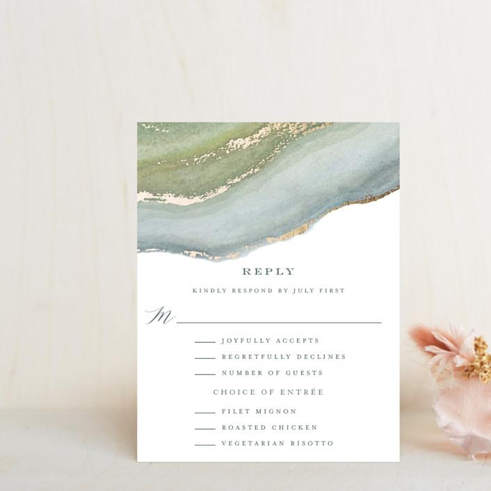 """""""Coastal Lines"""" - Foil-pressed Rsvp Cards in Moss by Grace Kreinbrink."""