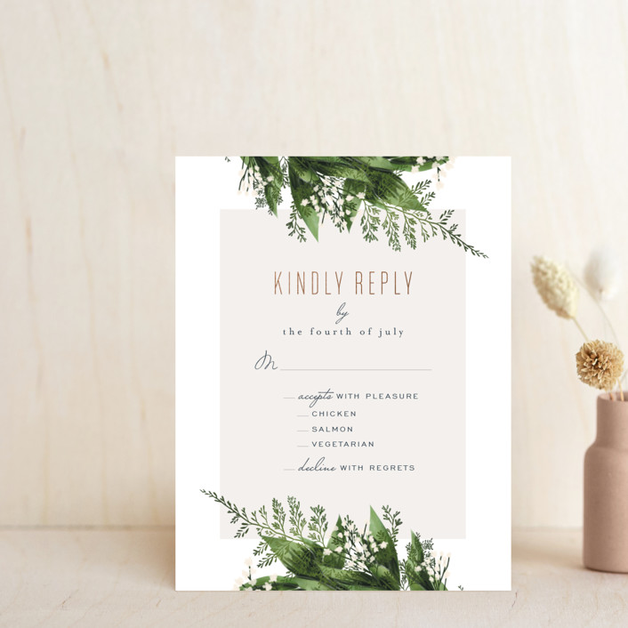 """""""Diamante"""" - Foil-pressed Rsvp Cards in Forest by Leah Bisch."""
