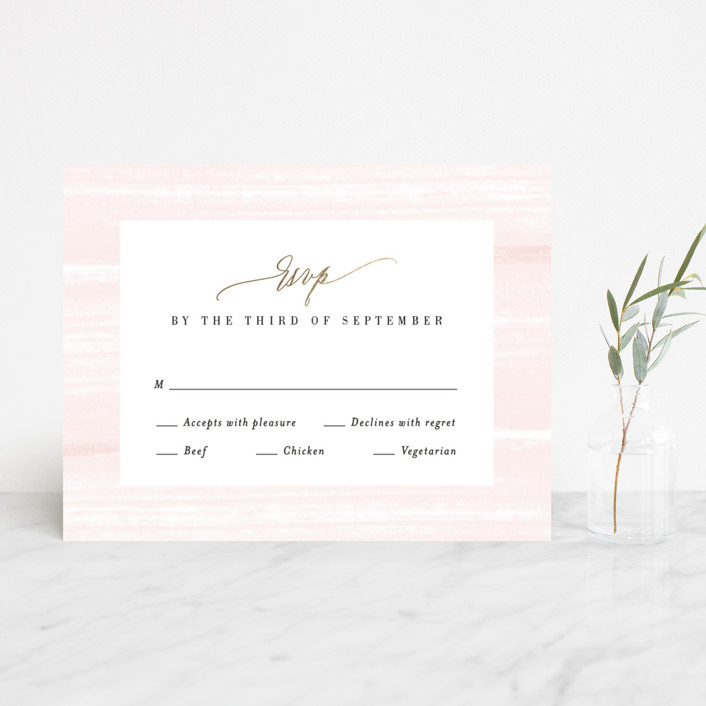 """Effervescent"" - Foil-pressed Rsvp Cards in Blush by Kristie Kern."