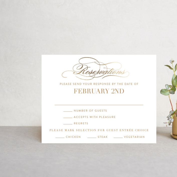 """Fashion District"" - Foil-pressed Rsvp Cards in Black Tie by Jill Means."