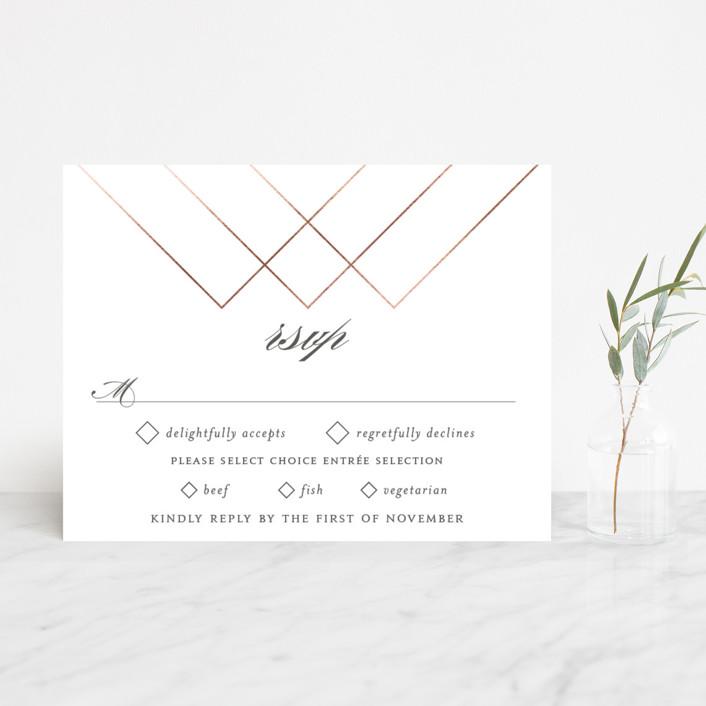 """""""Elegantly Lined"""" - Foil-pressed Rsvp Cards in Petal by Robin Ott."""