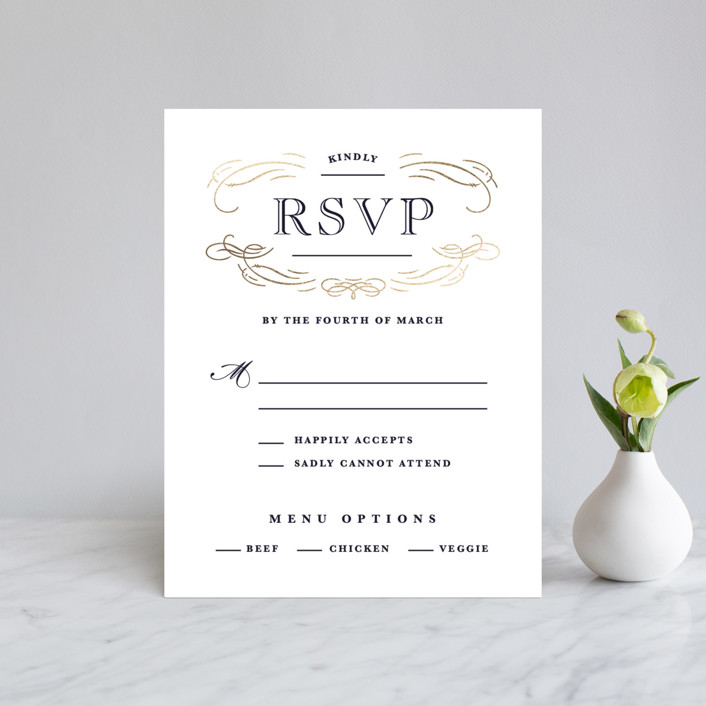 """Elegant Flourishes"" - Foil-pressed Rsvp Cards in Navy by Kristen Smith."