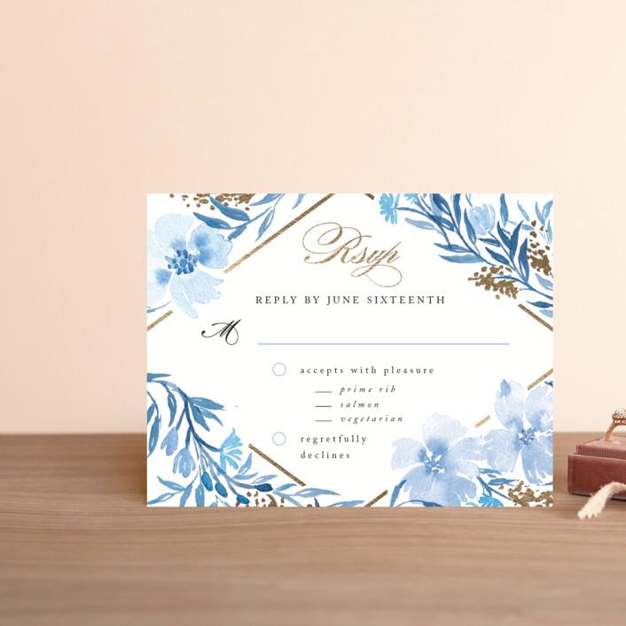 """""""Poetic Blue"""" - Foil-pressed Rsvp Cards in Sky by Qing Ji."""
