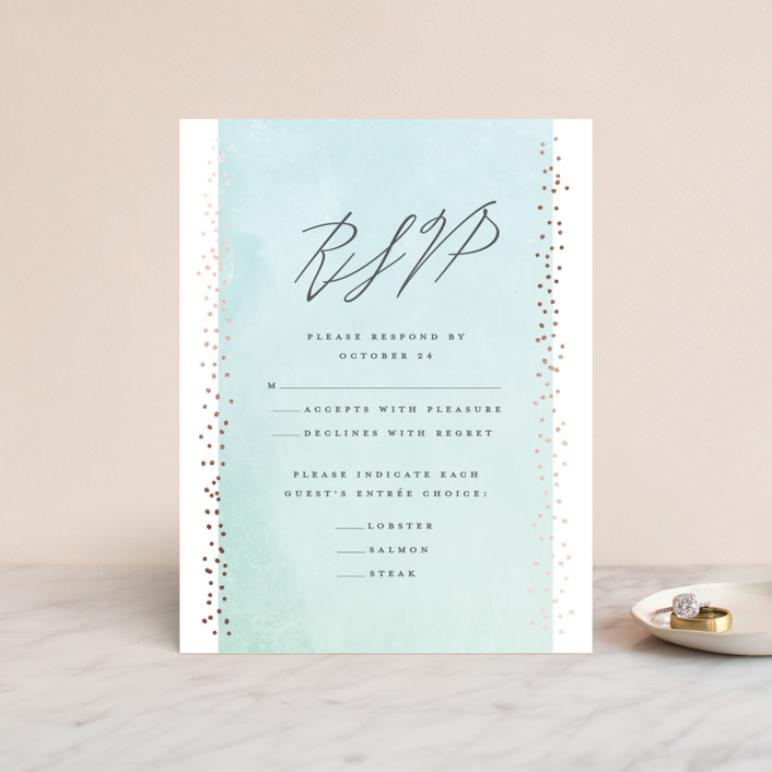 """""""Shimmering Evening"""" - Foil-pressed Rsvp Cards in Sea Glass by Grace Cobb."""
