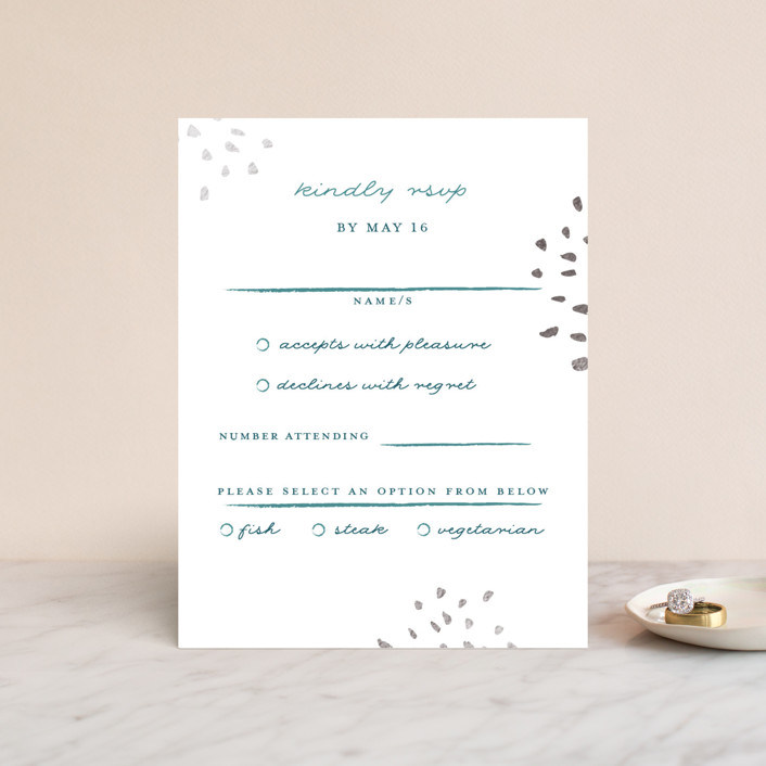 """""""Modern Muse"""" - Foil-pressed Rsvp Cards in Peacock by Lindsay Megahed."""