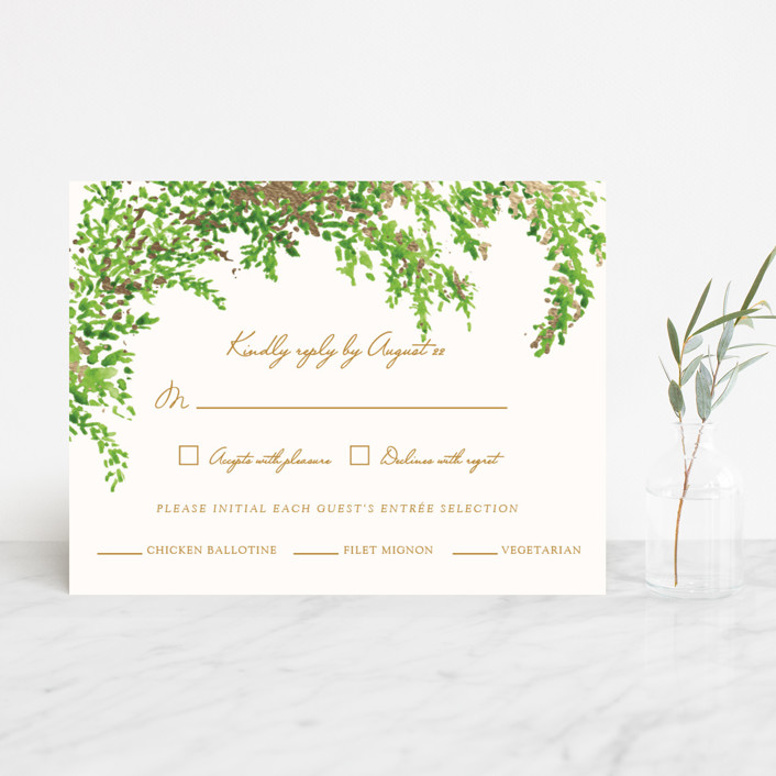 """A Love Story"" - Foil-pressed Rsvp Cards in Forest by Elly."