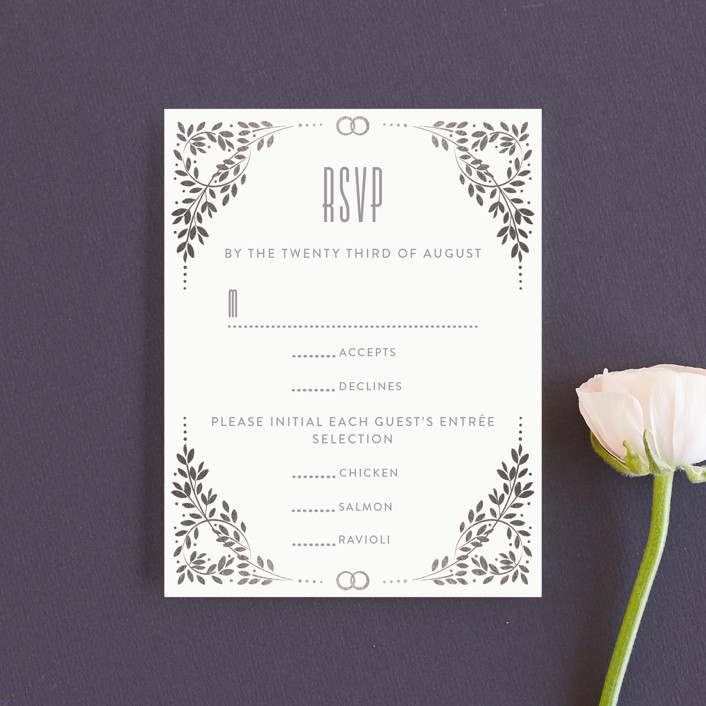 """Silver foliage frame"" - Foil-pressed Rsvp Cards in Snow by Ana de Sousa."