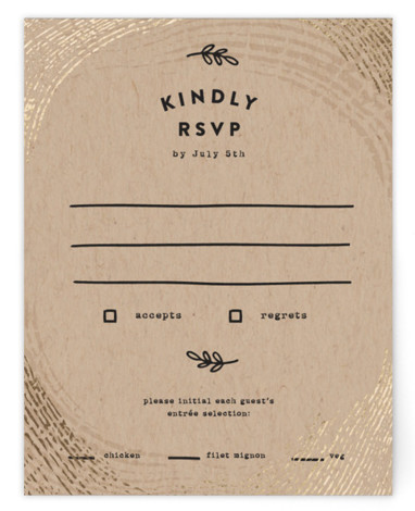 This is a brown, black RSVP Cards by Ariel Rutland called Ring Around Trees with Foil Pressed printing on Signature in Card Flat Card format. Woods inspired design with gold ring accents