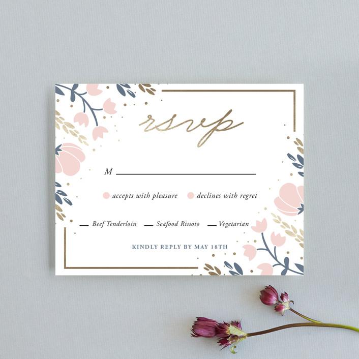 """Florabella"" - Foil-pressed Rsvp Cards in Blush by Oma N. Ramkhelawan."