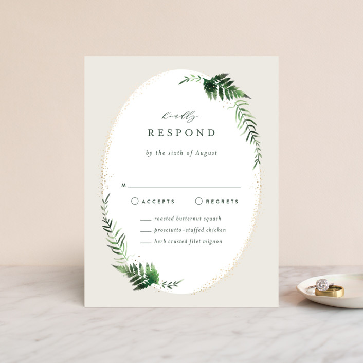 """Sparkling Ferns"" - Foil-pressed Rsvp Cards in Garden by Kristie Kern."