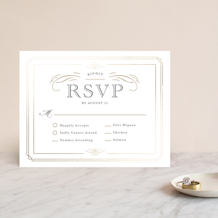 """Gilded Gala"" - Foil-pressed Rsvp Cards in Mist by Kristen Smith."