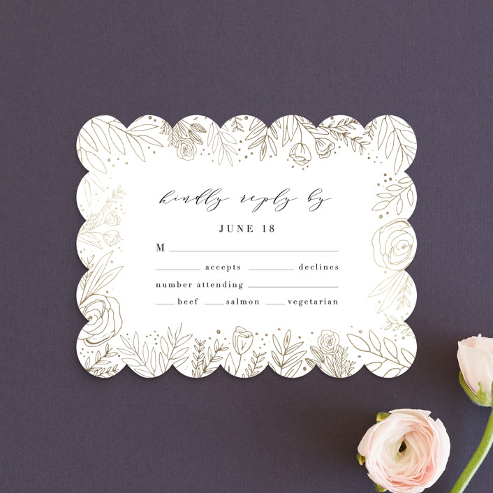 """""""Golden Fields"""" - Foil-pressed Rsvp Cards in Pearl by Annie Montgomery."""