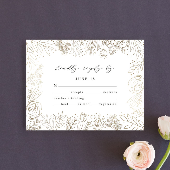 """Golden Fields"" - Foil-pressed Rsvp Cards in Pearl by Annie Montgomery."