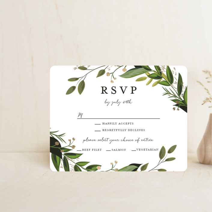 """""""Vines of Green"""" - Foil-pressed Rsvp Cards in Fern by Susan Moyal."""