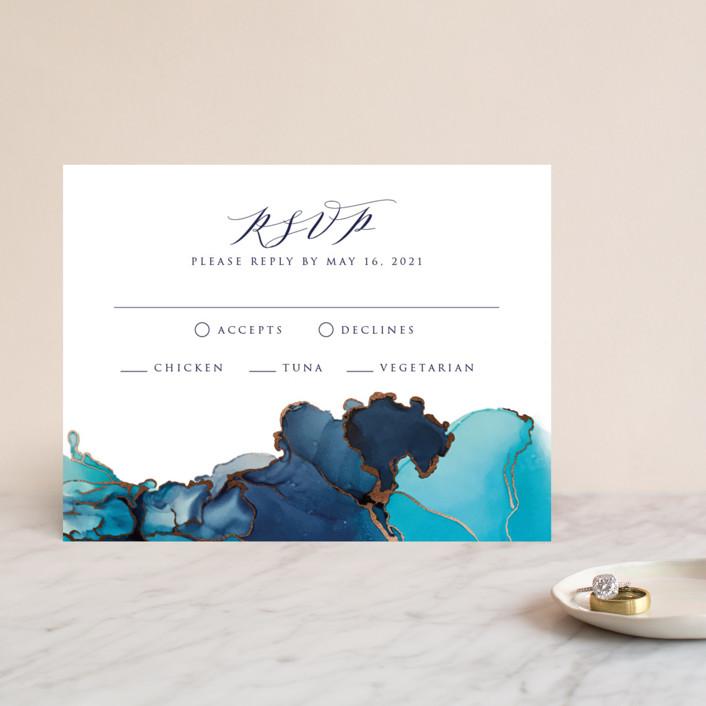 """Modern Tide Pools"" - Modern Foil-pressed Rsvp Cards in Turquoise by Erin Deegan."