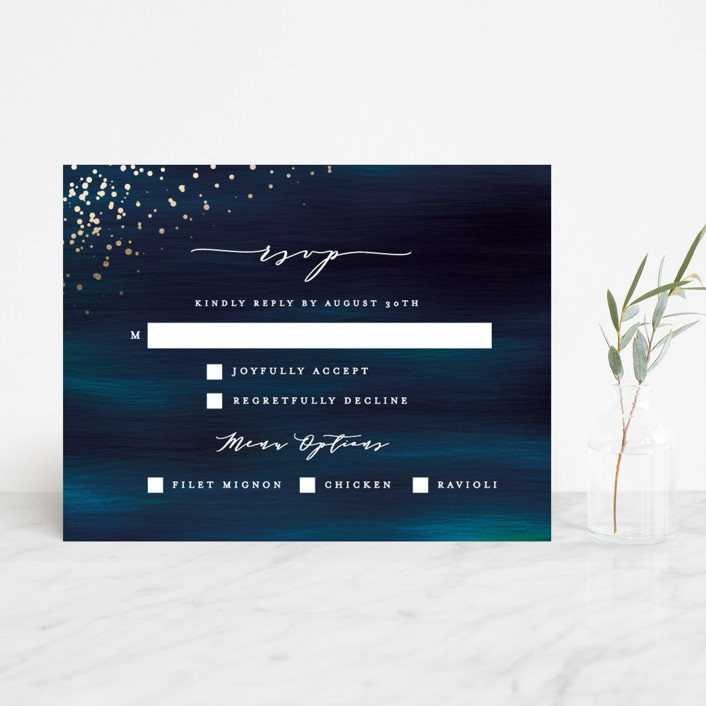"""Cosmic"" - Modern Foil-pressed Rsvp Cards in Galaxy by Ana Sharpe."