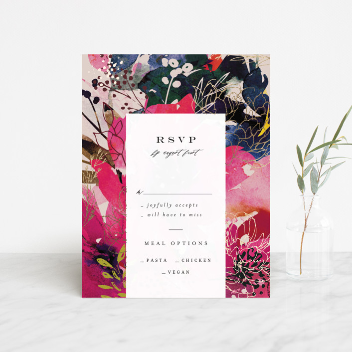 """""""Blooming Beauty"""" - Foil-pressed Rsvp Cards in Tan by Lori Wemple."""
