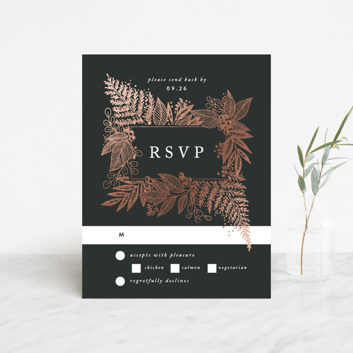 """""""Fern Frame"""" - Foil-pressed Rsvp Cards in Onyx by Alethea and Ruth."""