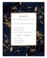 This is a blue rsvp card by Grace Kreinbrink called Midnight Vines with foil-pressed printing on signature in standard.