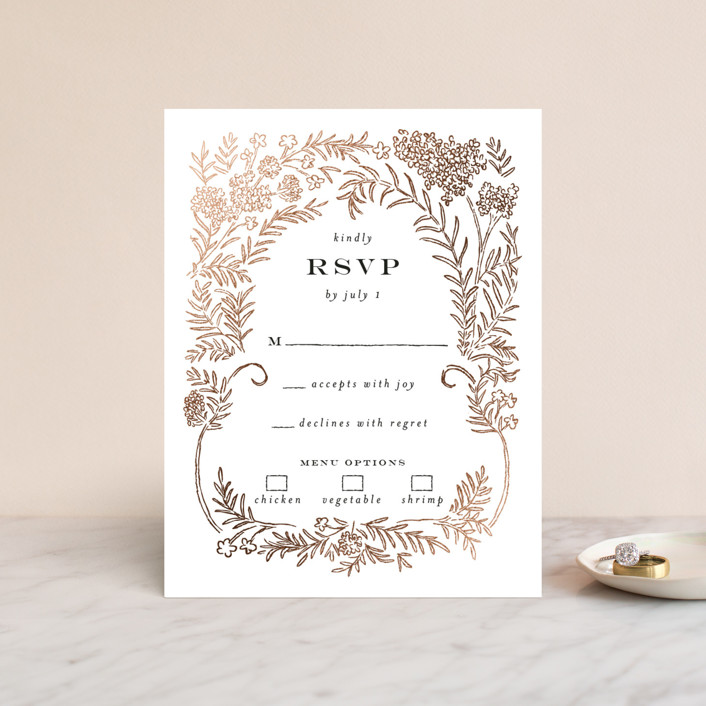 """Lacy Meadow Ovals"" - Foil-pressed Rsvp Cards in Gold Leaf by Shiny Penny Studio."