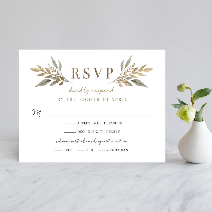 """Shade Garden"" - Foil-pressed Rsvp Cards in Ink by Robin Ott."