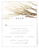 This is a grey rsvp card by AK Graphics called Frosted Branches with foil-pressed printing on signature in standard.