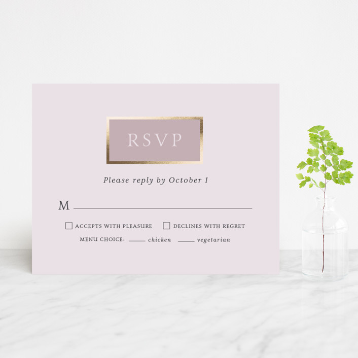 """Mod Block"" - Modern Foil-pressed Rsvp Cards in Lilac by Little Words Design."