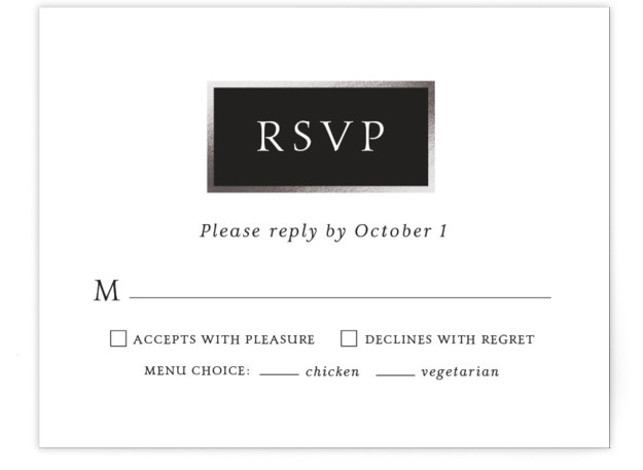 This is a modern, black, grey, silver, white RSVP Cards by Little Words Design called Mod Block with Foil Pressed printing on Signature in Card Flat Card format. A simple and modern color blocked wedding invitation with monogram