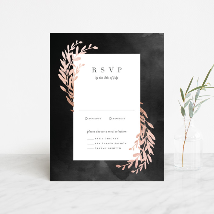 """""""Lux branch"""" - Foil-pressed Rsvp Cards in Pepper by Stacey Meacham."""