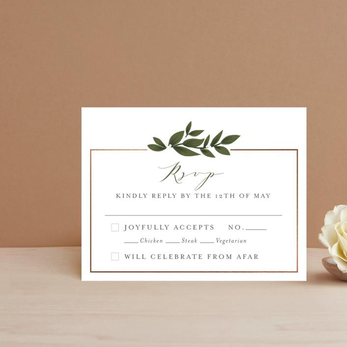 """Laurels Frame"" - Foil-pressed Rsvp Cards in Greenery by Itsy Belle Studio."