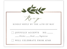 This is a green rsvp card by Itsy Belle Studio called Laurels Frame with foil-pressed printing on signature in standard.