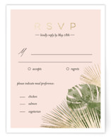 This is a gold rsvp card by silverscreen studio called Palm Springs with foil-pressed printing on signature in standard.