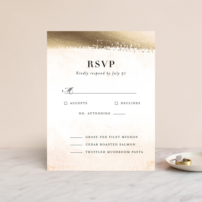 """Never ending"" - Modern Foil-pressed Rsvp Cards in Blush by Jennifer Wick."