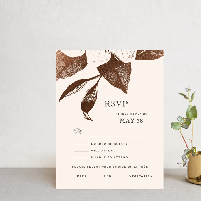 """The Land of Magnolias"" - Foil-pressed Rsvp Cards in Blush by Design Lotus."
