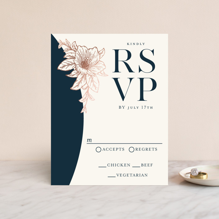 """Elegant Blooms"" - Foil-pressed Rsvp Cards in Deep Navy by GeekInk Design."