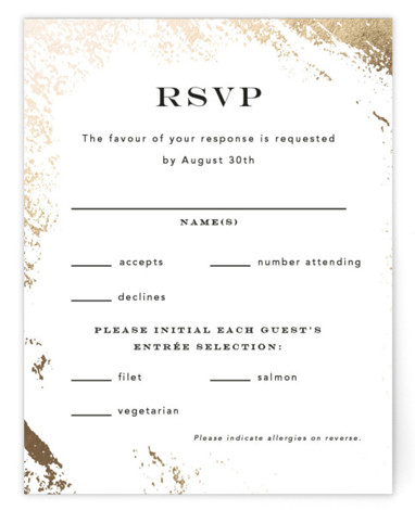 This is a modern, painterly, gold, white RSVP Cards by Kimberly FitzSimons called Edgy Charm with Foil Pressed printing on Signature in Card Flat Card format. A wedding invitation with a touch of edgy foiling and eye catching type.