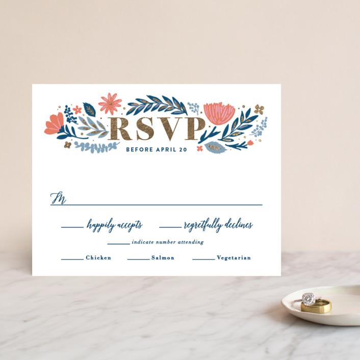 """Folk Floral"" - Foil-pressed Rsvp Cards in Navy by Hooray Creative."