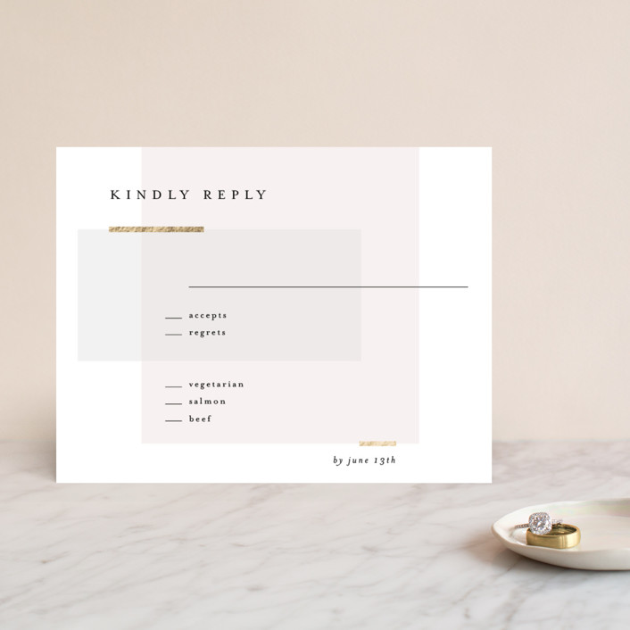 """""""Clean and Modern"""" - Foil-pressed Rsvp Cards in Champagne by Kelly Schmidt."""