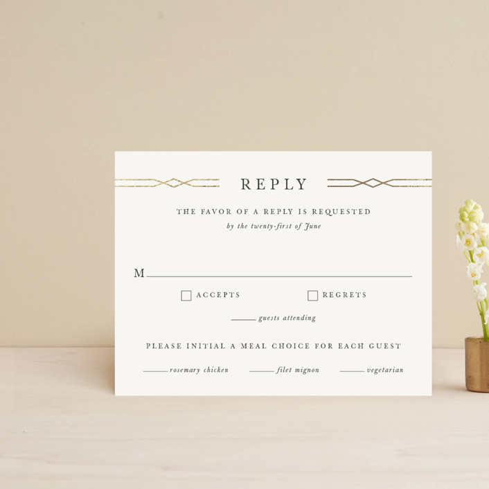 """Traditional Twist"" - Foil-pressed Rsvp Cards in Cream by Sarah Brown."