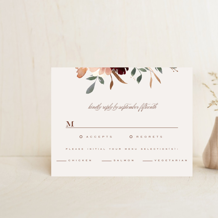 """""""harvest"""" - Rustic Foil-pressed Rsvp Cards in Eggshell by Leah Bisch."""