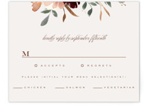 This is a beige rsvp card by Leah Bisch called harvest with foil-pressed printing on signature in standard.