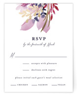 This is a purple rsvp card by Olivia Raufman called Lush Wreath with foil-pressed printing on signature in standard.