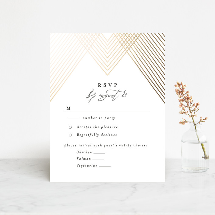 """Diamond Criss Cross"" - Vintage Foil-pressed Rsvp Cards in Midnight by Alethea and Ruth."