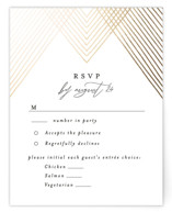 This is a black rsvp card by Alethea and Ruth called Diamond Criss Cross with foil-pressed printing on signature in standard.