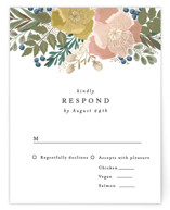 This is a green rsvp card by Alethea and Ruth called Floral Edge with foil-pressed printing on signature in standard.